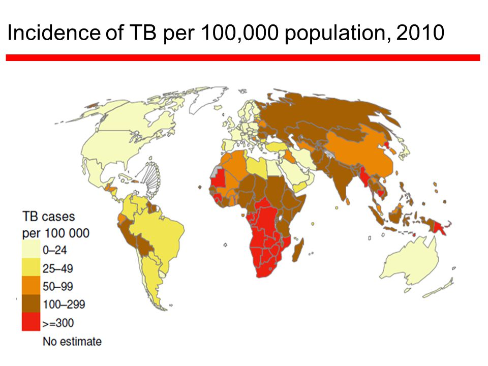 Incidence of TB per 100,000 population, 2010