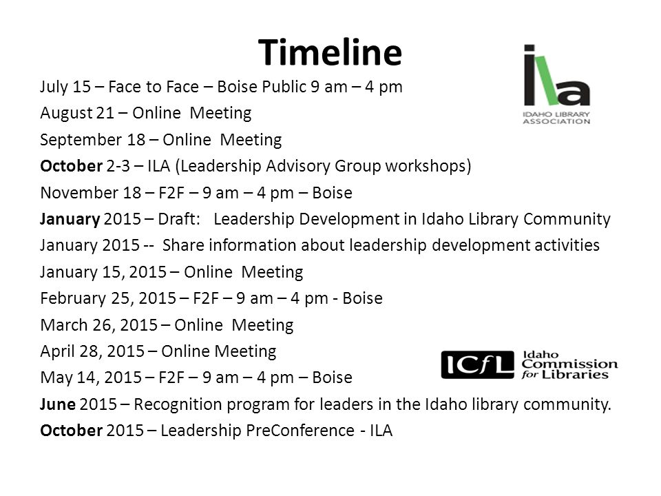 Timeline July 15 – Face to Face – Boise Public 9 am – 4 pm August 21 – Online Meeting September 18 – Online Meeting October 2-3 – ILA (Leadership Advisory Group workshops) November 18 – F2F – 9 am – 4 pm – Boise January 2015 – Draft: Leadership Development in Idaho Library Community January 2015 -- Share information about leadership development activities January 15, 2015 – Online Meeting February 25, 2015 – F2F – 9 am – 4 pm - Boise March 26, 2015 – Online Meeting April 28, 2015 – Online Meeting May 14, 2015 – F2F – 9 am – 4 pm – Boise June 2015 – Recognition program for leaders in the Idaho library community.