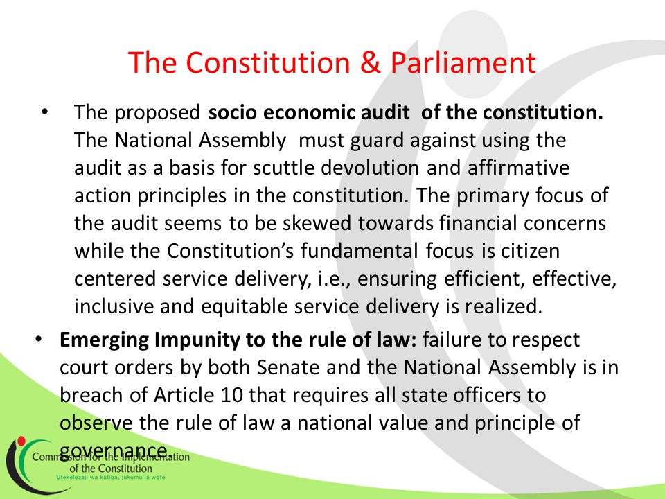 The Constitution & Parliament The proposed socio economic audit of the constitution.