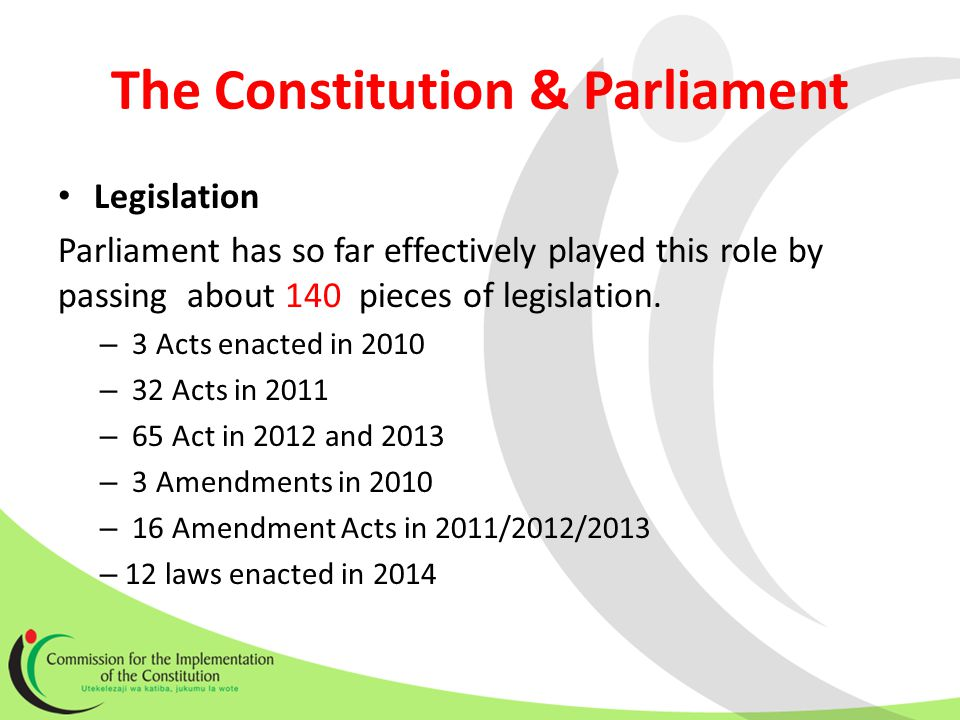 The Constitution & Parliament Legislation Parliament has so far effectively played this role by passing about 140 pieces of legislation.