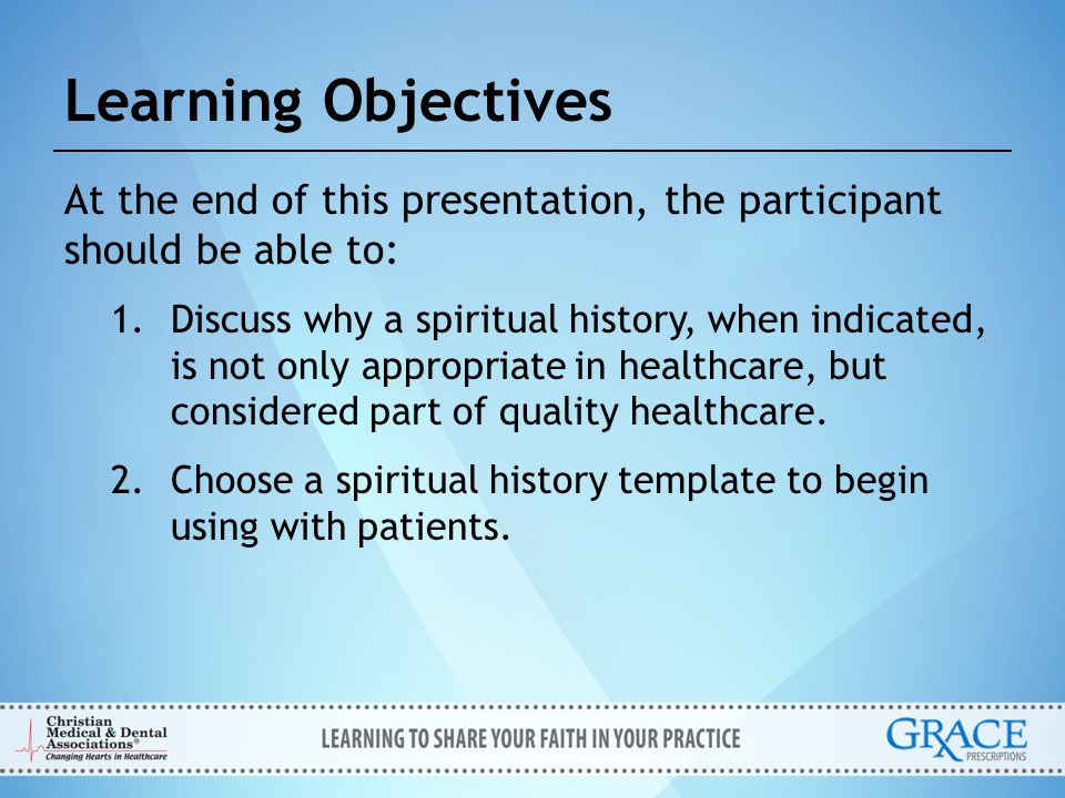 Open Invite The tool provides questions that allow the physician to broach the topic of spirituality.