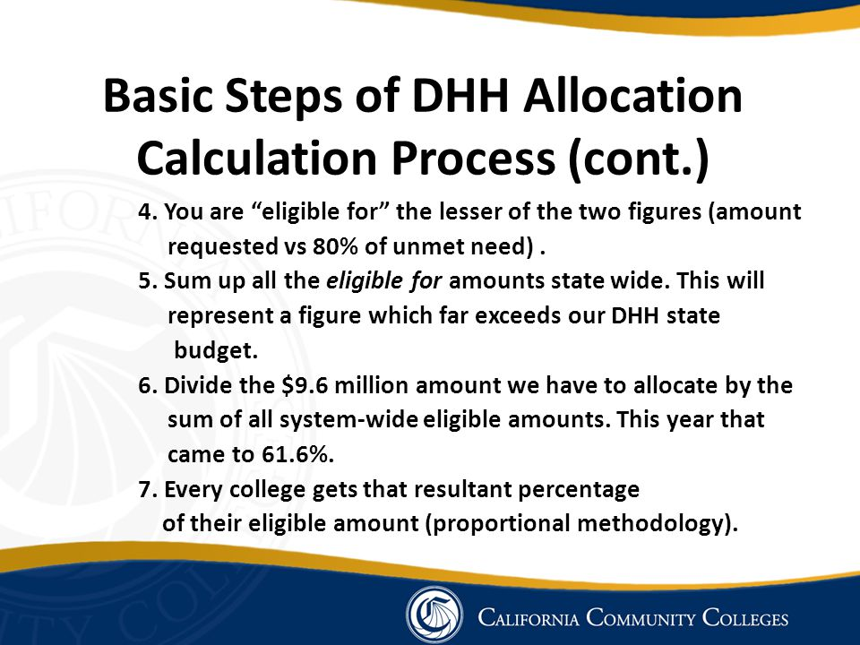 Basic Steps of DHH Allocation Calculation Process (cont.) 4.