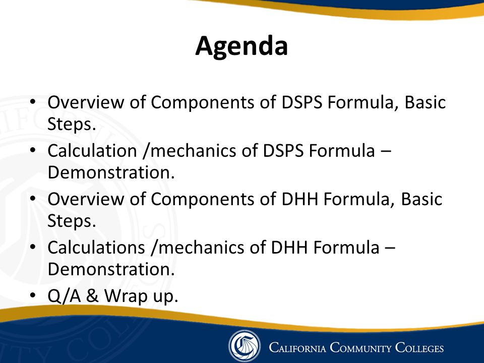 Agenda Overview of Components of DSPS Formula, Basic Steps.