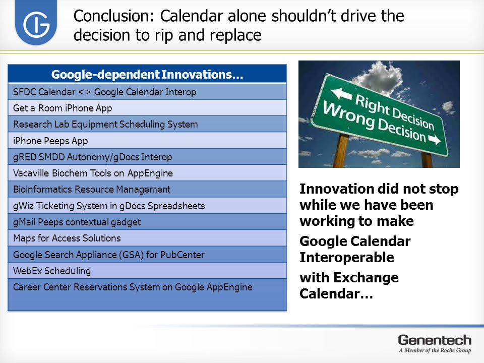Conclusion: Calendar alone shouldn't drive the decision to rip and replace Innovation did not stop while we have been working to make Google Calendar Interoperable with Exchange Calendar…