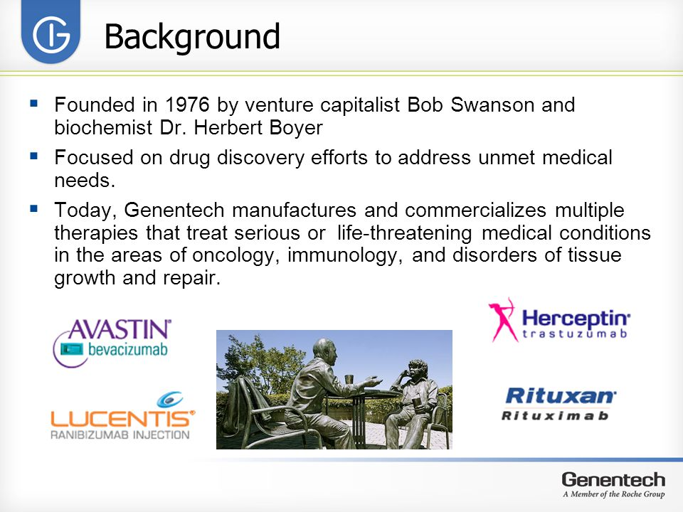 Background  Founded in 1976 by venture capitalist Bob Swanson and biochemist Dr.