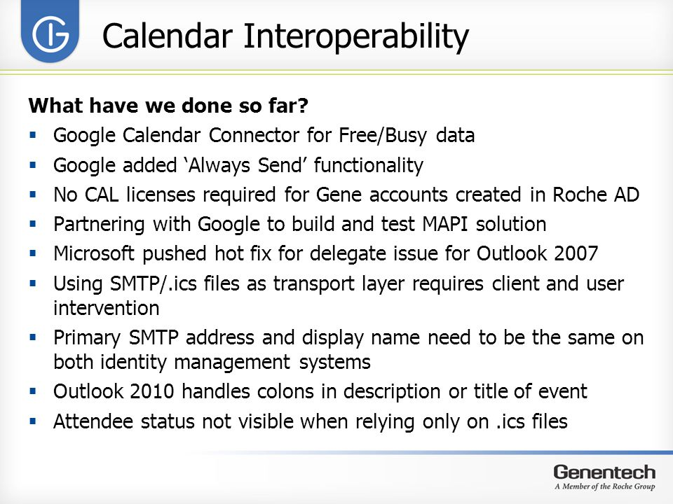 Calendar Interoperability What have we done so far.