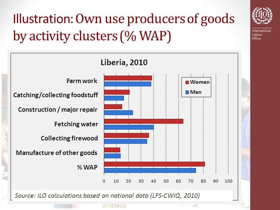 Illustration: Own use producers of goods by activity clusters (% WAP) Source: ILO calculations based on national data (LFS-CWIQ, 2010)