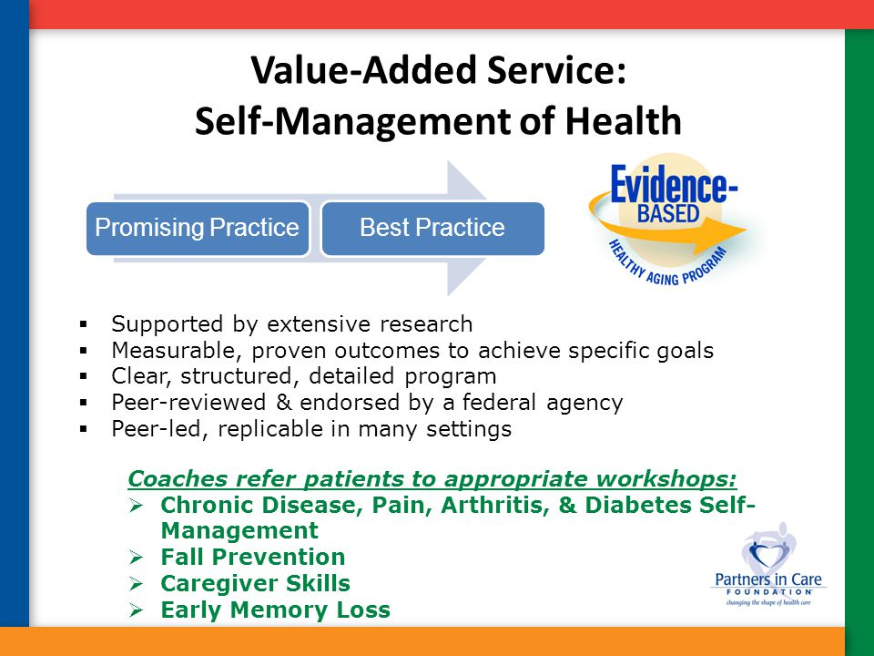 Value-Added Service: Self-Management of Health  Supported by extensive research  Measurable, proven outcomes to achieve specific goals  Clear, stru