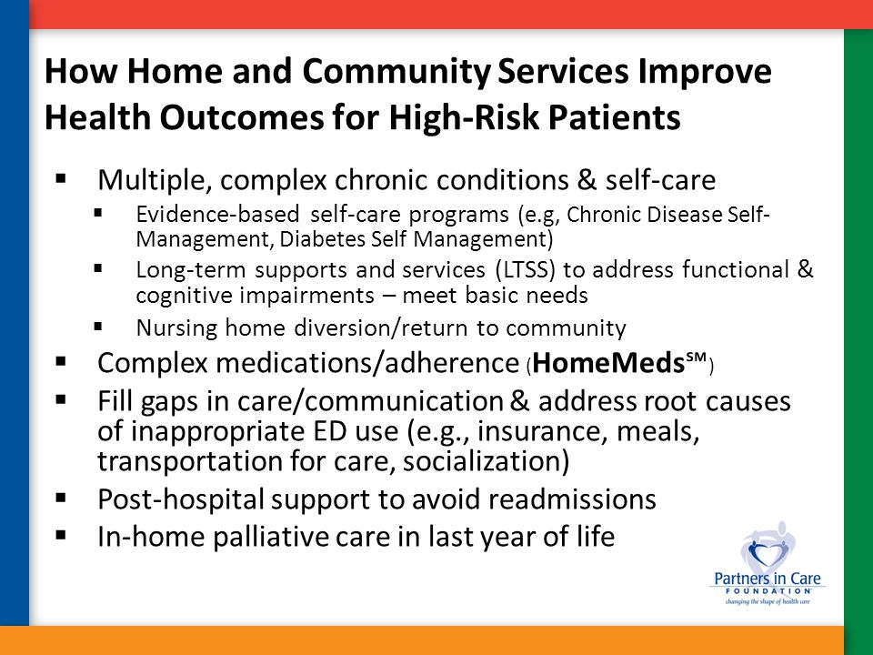 How Home and Community Services Improve Health Outcomes for High-Risk Patients  Multiple, complex chronic conditions & self-care  Evidence-based sel