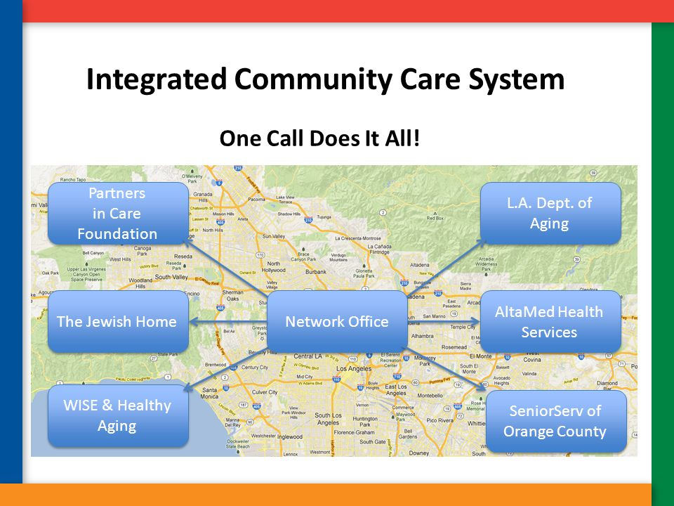 Integrated Community Care System One Call Does It All! Partners in Care Foundation Partners in Care Foundation L.A. Dept. of Aging AltaMed Health Serv