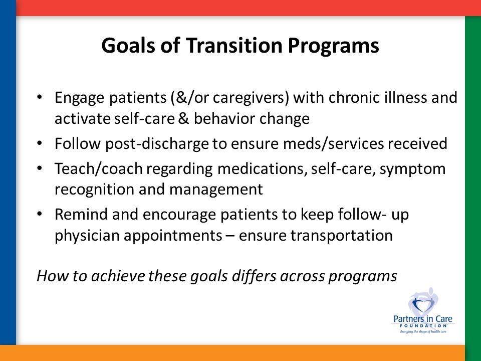 Coleman Care Transition Intervention – Social Worker or Health Coach (one per 40 patients) – Duration-30 days post hospital One visit in hospital One Home visit post-DC or post-SNF Three follow-up calls within 30 days – Based on four pillars – Medication Reconciliation & Management – Personal Health Record (PHR) – Primary care and specialist follow-up – Knowledge of red flags re: symptom exacerbation – Results* In RCT, CTI prevented 1 readmission per 17 patients Savings $300,000 per 350 patients (cost<$170,000) *California Healthcare Foundation- Improving Care Transitions October 3, 2007