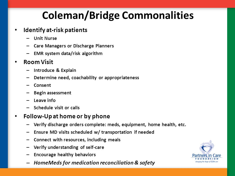 Coleman/Bridge Commonalities Identify at-risk patients – Unit Nurse – Care Managers or Discharge Planners – EMR system data/risk algorithm Room Visit
