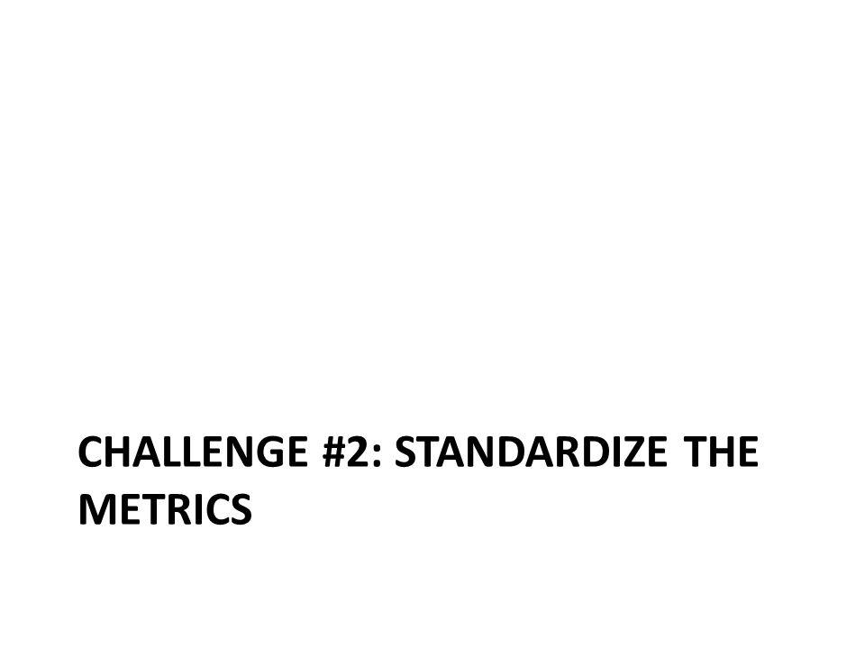 CHALLENGE #2: STANDARDIZE THE METRICS