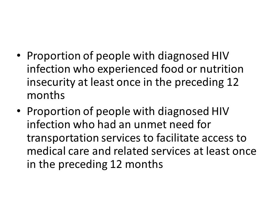 Proportion of people with diagnosed HIV infection who experienced food or nutrition insecurity at least once in the preceding 12 months Proportion of