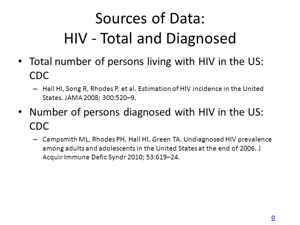 Sources of Data: HIV - Total and Diagnosed Total number of persons living with HIV in the US: CDC – Hall HI, Song R, Rhodes P, et al. Estimation of HI