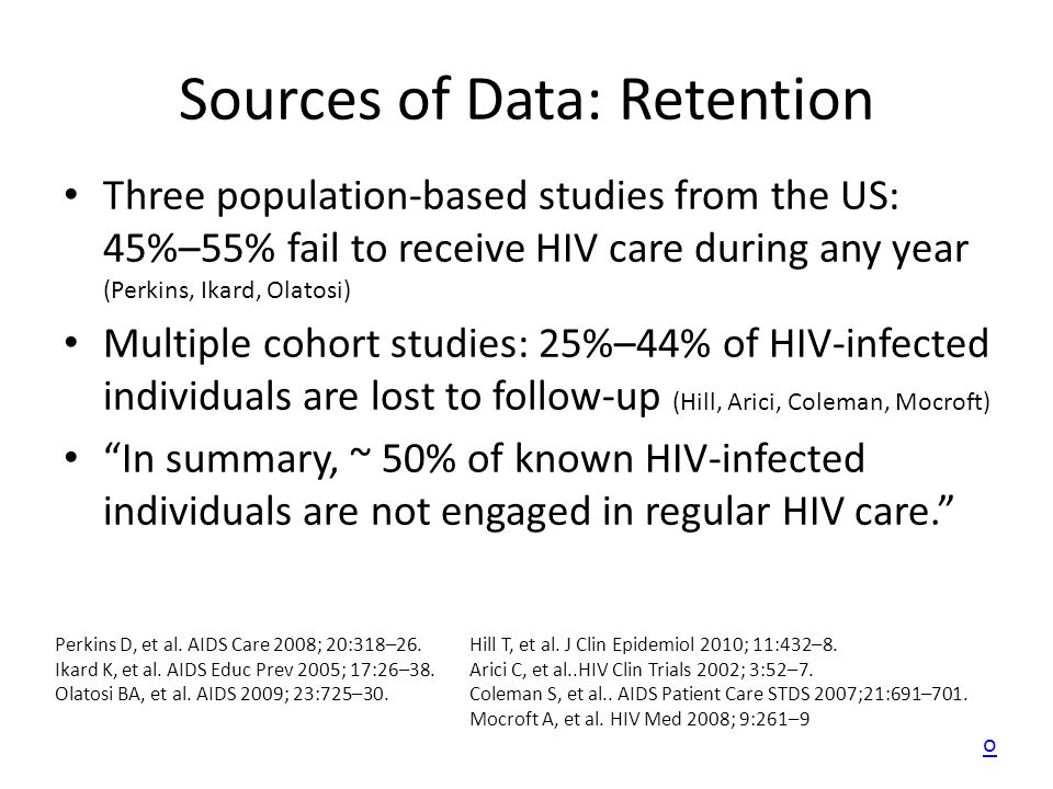 Sources of Data: Retention Three population-based studies from the US: 45%–55% fail to receive HIV care during any year (Perkins, Ikard, Olatosi) Mult