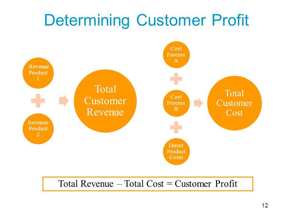 Determining Customer Profit Revenue Product 1 Revenue Product 2 Total Customer Revenue Cost Process A Cost Process B Direct Product Costs Total Custom
