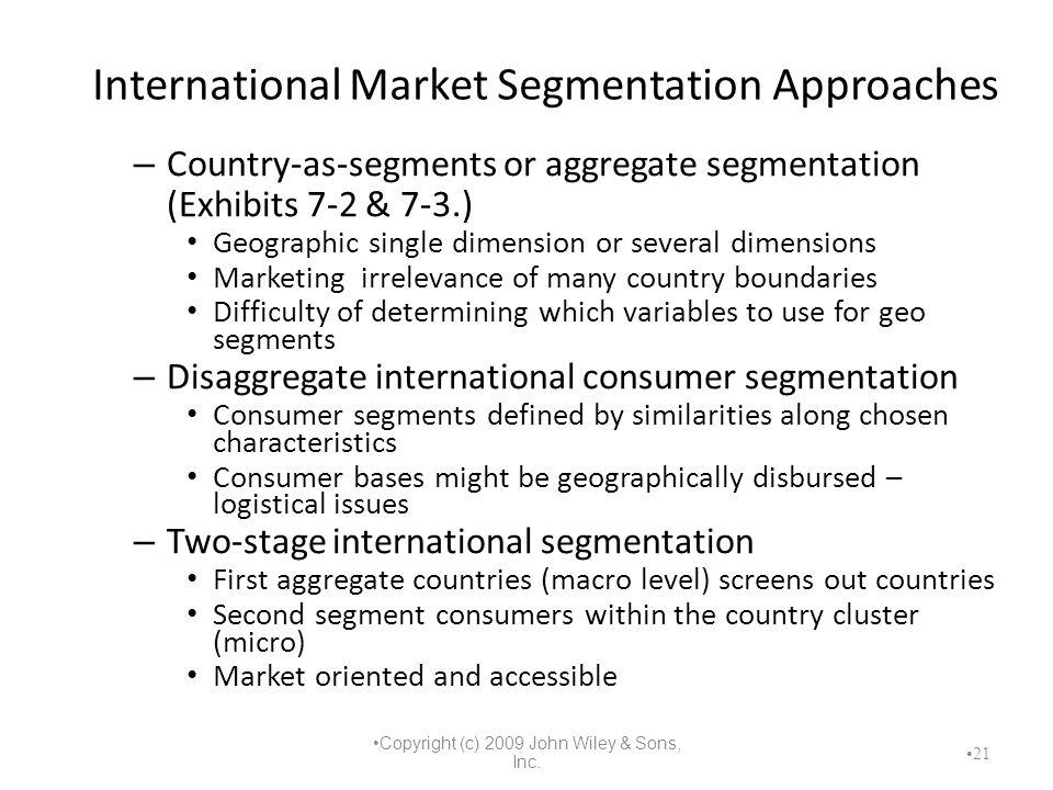 International Market Segmentation Approaches – Country-as-segments or aggregate segmentation (Exhibits 7-2 & 7-3.) Geographic single dimension or seve