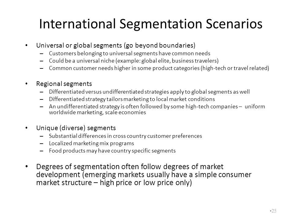 International Segmentation Scenarios Universal or global segments (go beyond boundaries) – Customers belonging to universal segments have common needs