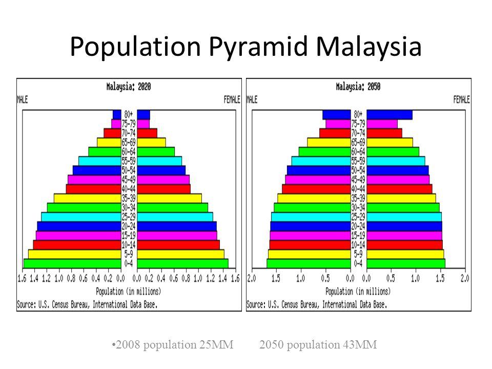 Population Pyramid Malaysia 2008 population 25MM 2050 population 43MM