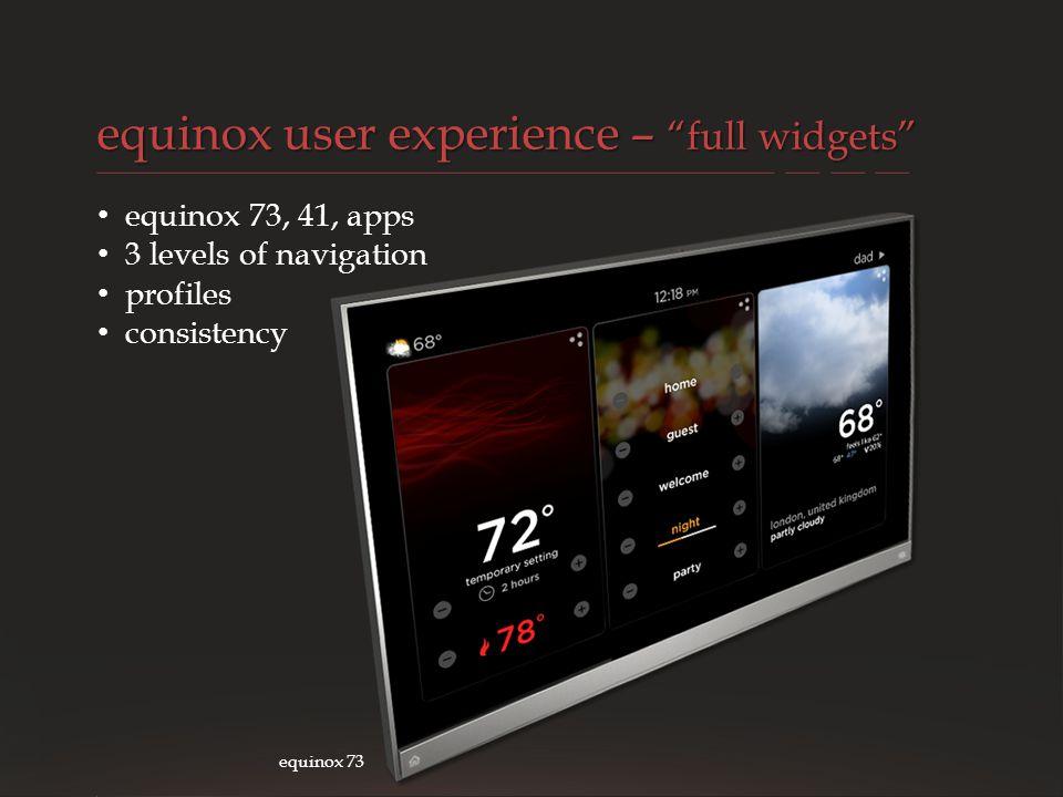 VANTAGE CONFIDENTIAL equinox user experience – full widgets equinox 73 equinox 73, 41, apps 3 levels of navigation profiles consistency
