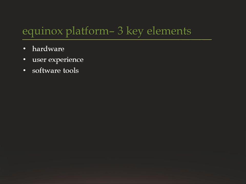 hardware user experience software tools equinox platform– 3 key elements