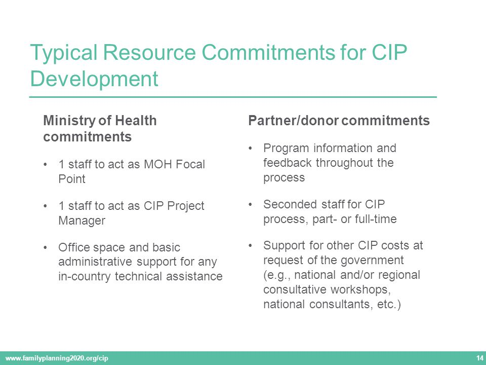 Typical Resource Commitments for CIP Development www.familyplanning2020.org/cip 14 Partner/donor commitments Program information and feedback throughout the process Seconded staff for CIP process, part- or full-time Support for other CIP costs at request of the government (e.g., national and/or regional consultative workshops, national consultants, etc.) Ministry of Health commitments 1 staff to act as MOH Focal Point 1 staff to act as CIP Project Manager Office space and basic administrative support for any in-country technical assistance