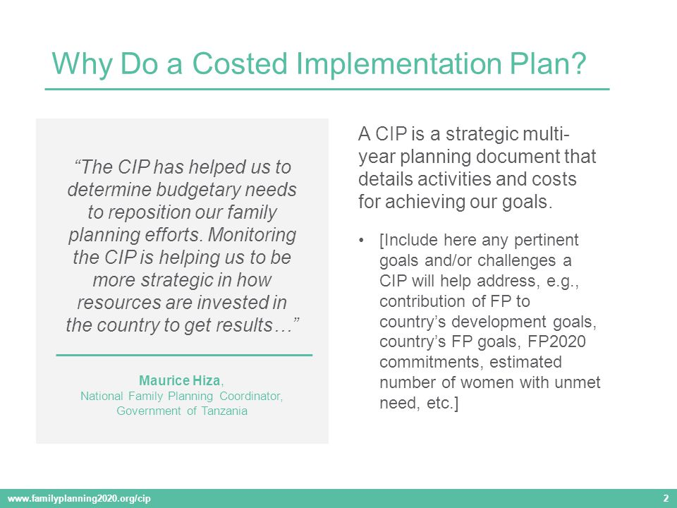 A CIP is a strategic multi- year planning document that details activities and costs for achieving our goals.