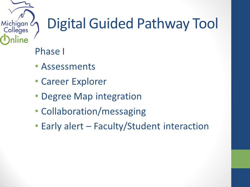 Digital Guided Pathway Tool Phase I Assessments Career Explorer Degree Map integration Collaboration/messaging Early alert – Faculty/Student interaction