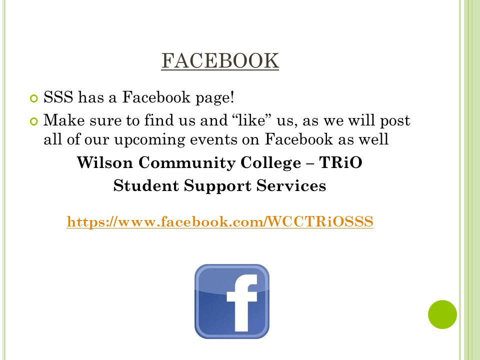 FACEBOOK SSS has a Facebook page.