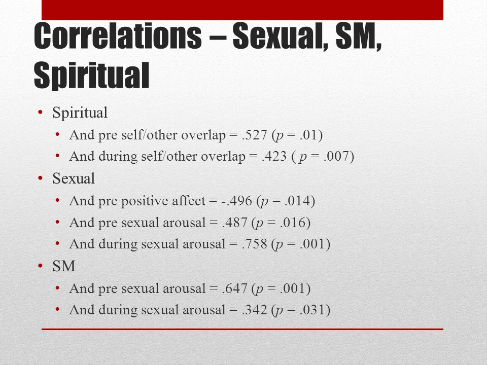 Correlations – Sexual, SM, Spiritual Spiritual And pre self/other overlap =.527 (p =.01) And during self/other overlap =.423 ( p =.007) Sexual And pre