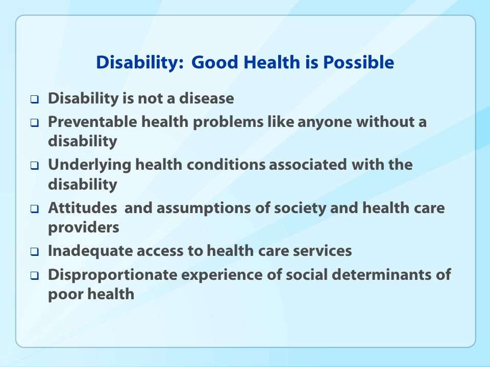 CDC-wide Disability and Health Working Group  2010-2012 Accomplishments  Included people with disabilities in the first-ever CDC Health Disparities and Inequalities Report, MMWR, January 14, 2011  Developed a Vital Signs and MMWR QuickStats on unmet health care needs, November 2010  Proposed language to heighten the visibility of disability in the Community Transformation Grant Funding Opportunity Announcement.
