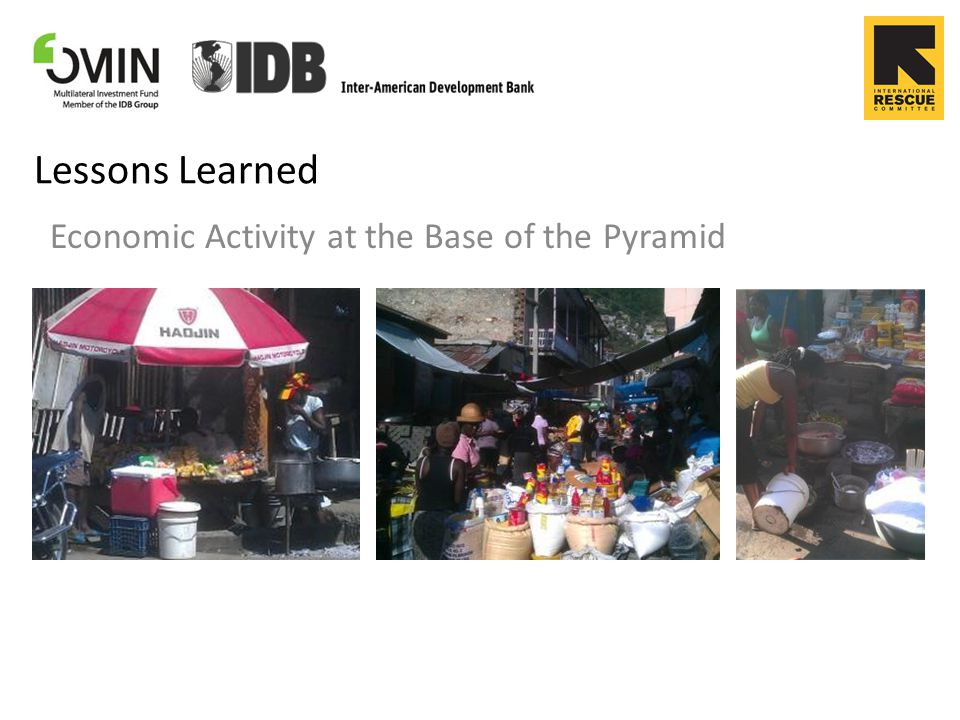 Lessons Learned Economic Activity at the Base of the Pyramid
