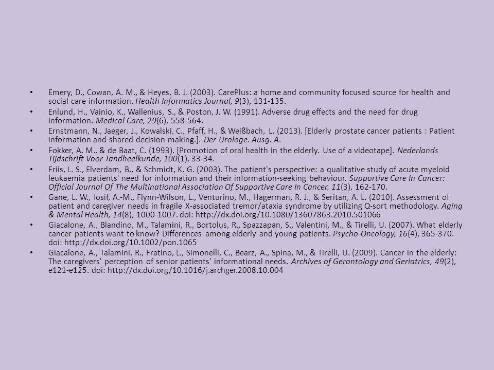 Emery, D., Cowan, A. M., & Heyes, B. J. (2003).