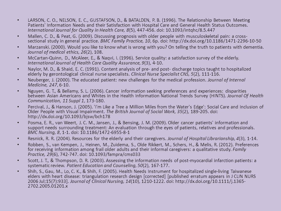 LARSON, C. O., NELSON, E. C., GUSTAFSON, D., & BATALDEN, P.