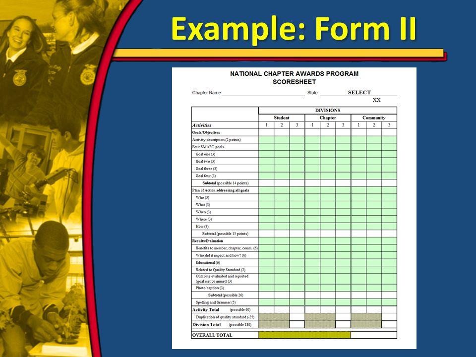 Example: Form II