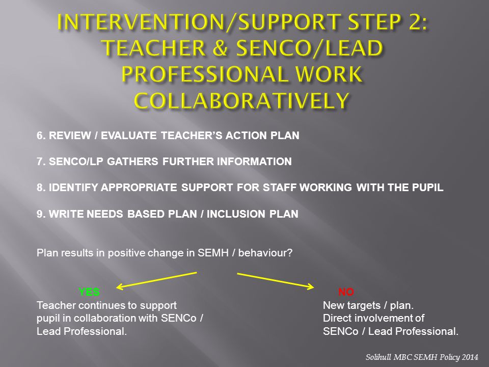 6. REVIEW / EVALUATE TEACHER'S ACTION PLAN 7. SENCO/LP GATHERS FURTHER INFORMATION 8. IDENTIFY APPROPRIATE SUPPORT FOR STAFF WORKING WITH THE PUPIL 9.