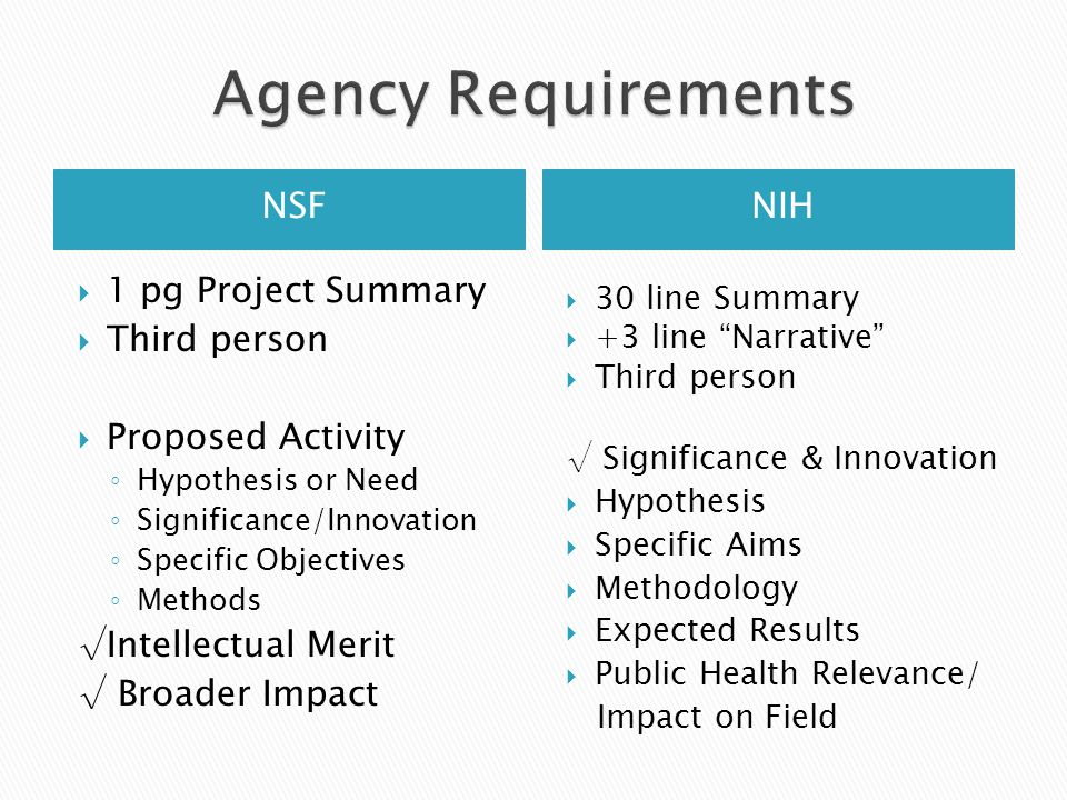 NIH  1 pg Project Summary  Third person  Proposed Activity ◦ Hypothesis or Need ◦ Significance/Innovation ◦ Specific Objectives ◦ Methods √Intellectual Merit √ Broader Impact  30 line Summary  +3 line Narrative  Third person √ Significance & Innovation  Hypothesis  Specific Aims  Methodology  Expected Results  Public Health Relevance/ Impact on Field NSF