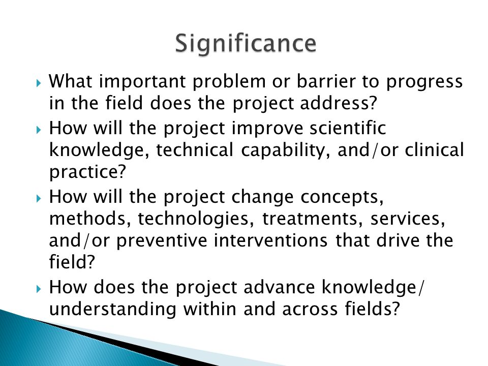  What important problem or barrier to progress in the field does the project address.
