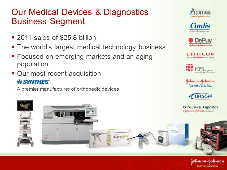 Our Medical Devices & Diagnostics Business Segment  2011 sales of $25.8 billion  The world's largest medical technology business  Focused on emerging markets and an aging population  Our most recent acquisition A premier manufacturer of orthopedic devices