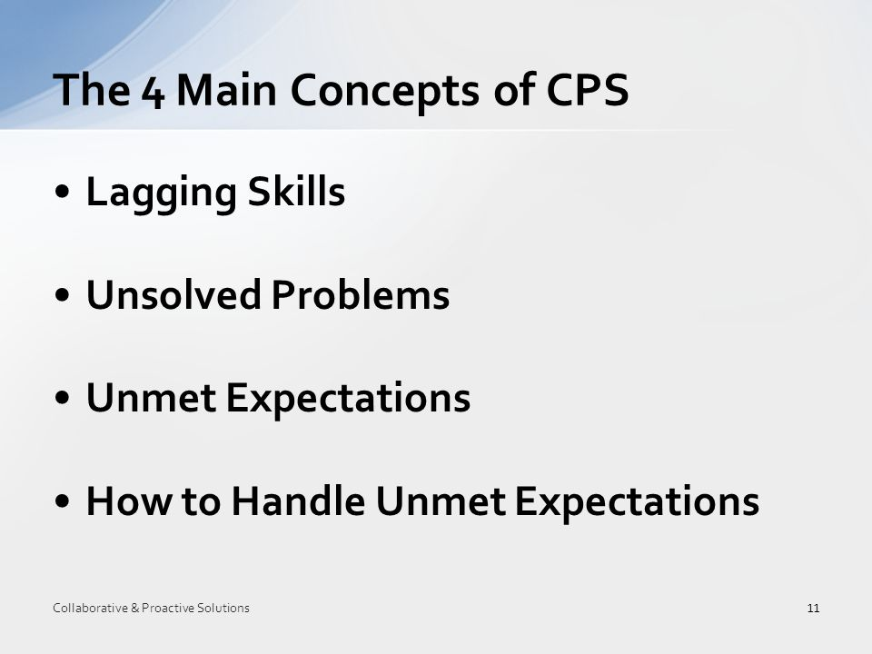 Lagging Skills Unsolved Problems Unmet Expectations How to Handle Unmet Expectations The 4 Main Concepts of CPS 11 Collaborative & Proactive Solutions