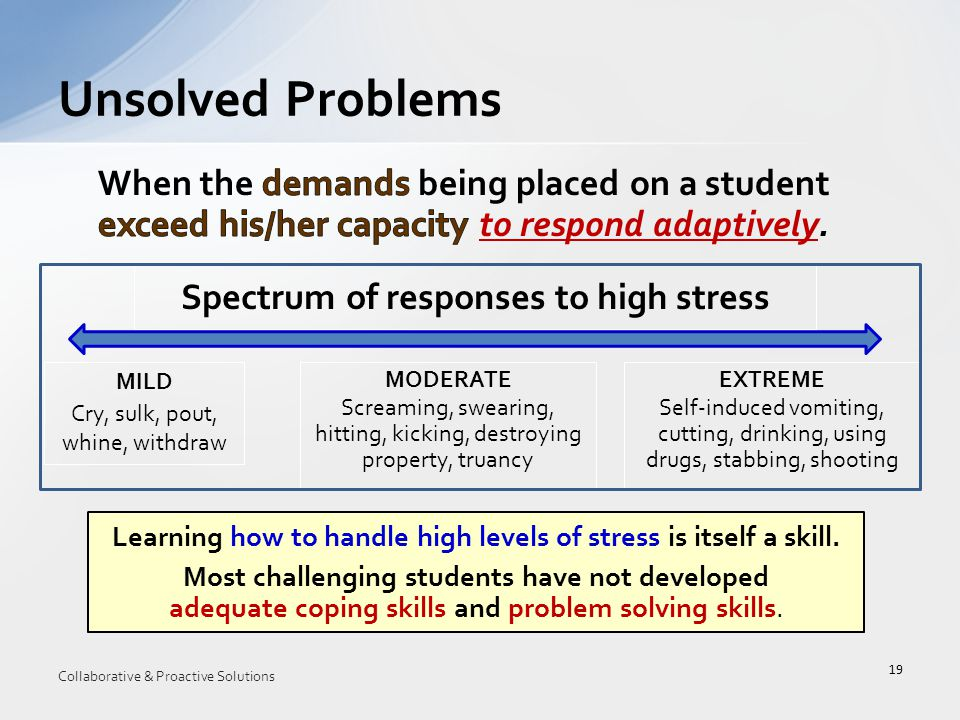 Unsolved Problems 19 Learning how to handle high levels of stress is itself a skill.
