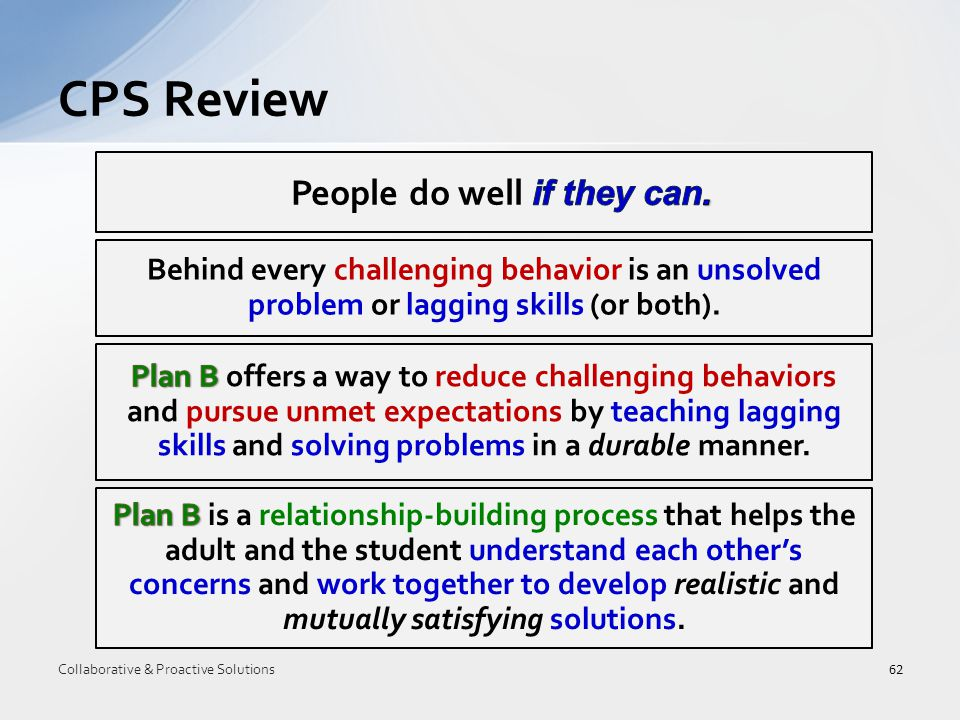CPS Review 62 Collaborative & Proactive Solutions Behind every challenging behavior is an unsolved problem or lagging skills (or both).