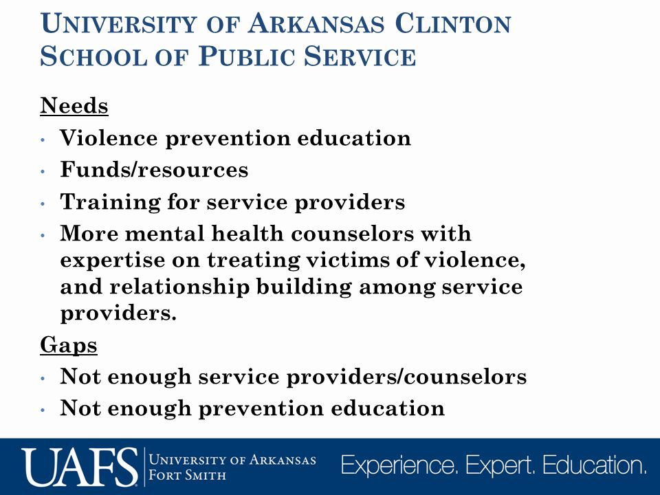 U NIVERSITY OF A RKANSAS C LINTON S CHOOL OF P UBLIC S ERVICE Needs Violence prevention education Funds/resources Training for service providers More