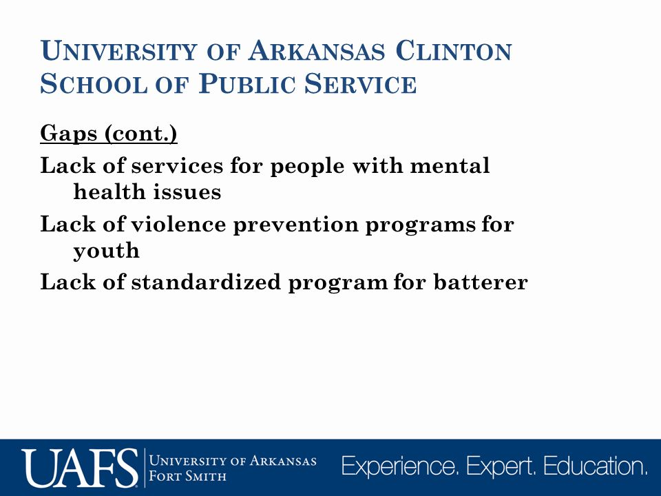 U NIVERSITY OF A RKANSAS C LINTON S CHOOL OF P UBLIC S ERVICE Gaps (cont.) Lack of services for people with mental health issues Lack of violence prevention programs for youth Lack of standardized program for batterer