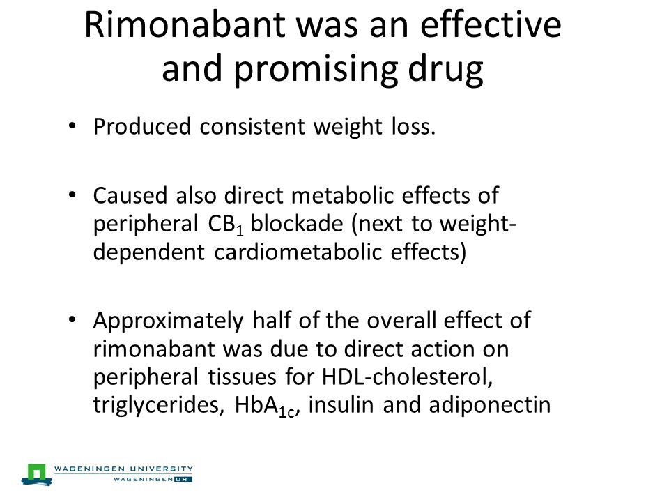 Rimonabant was an effective and promising drug Produced consistent weight loss.