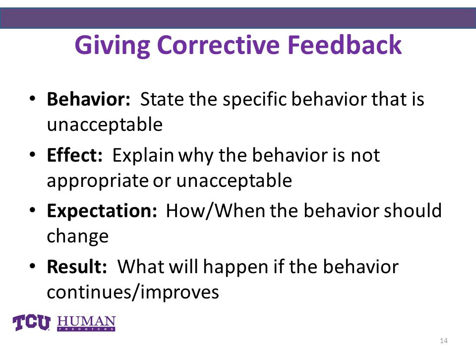 Giving Corrective Feedback Behavior: State the specific behavior that is unacceptable Effect: Explain why the behavior is not appropriate or unacceptable Expectation: How/When the behavior should change Result: What will happen if the behavior continues/improves 14