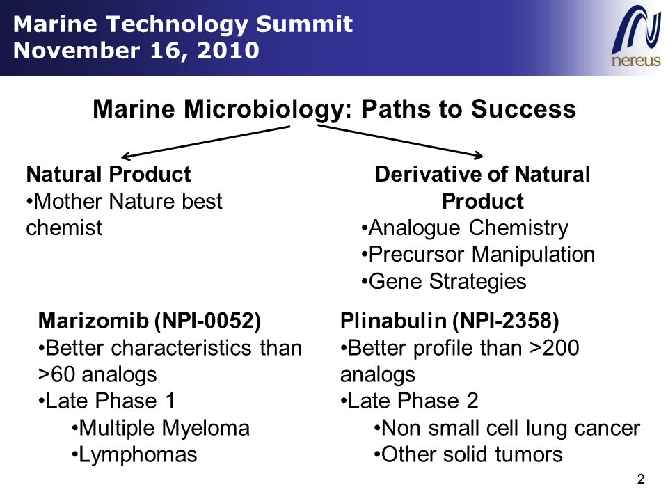 2 Marine Microbiology: Paths to Success 2 Natural Product Mother Nature best chemist Derivative of Natural Product Analogue Chemistry Precursor Manipulation Gene Strategies Marizomib (NPI-0052) Better characteristics than >60 analogs Late Phase 1 Multiple Myeloma Lymphomas Plinabulin (NPI-2358) Better profile than >200 analogs Late Phase 2 Non small cell lung cancer Other solid tumors Marine Technology Summit November 16, 2010