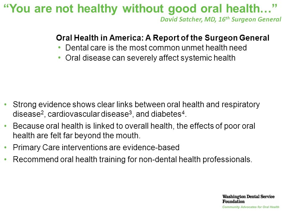 43 Course Summary Oral infections are among the most common untreated chronic infections Oral health is the most common unmet health need in a variety of vulnerable populations Caries, present throughout the life cycle, is preventable, reversible, and treatable Periodontal disease increases the risk of Type 2 diabetes and the risk of diabetic and other chronic disease complications – yet is preventable Primary care providers can have a major impact in improving the oral health of individuals and communities