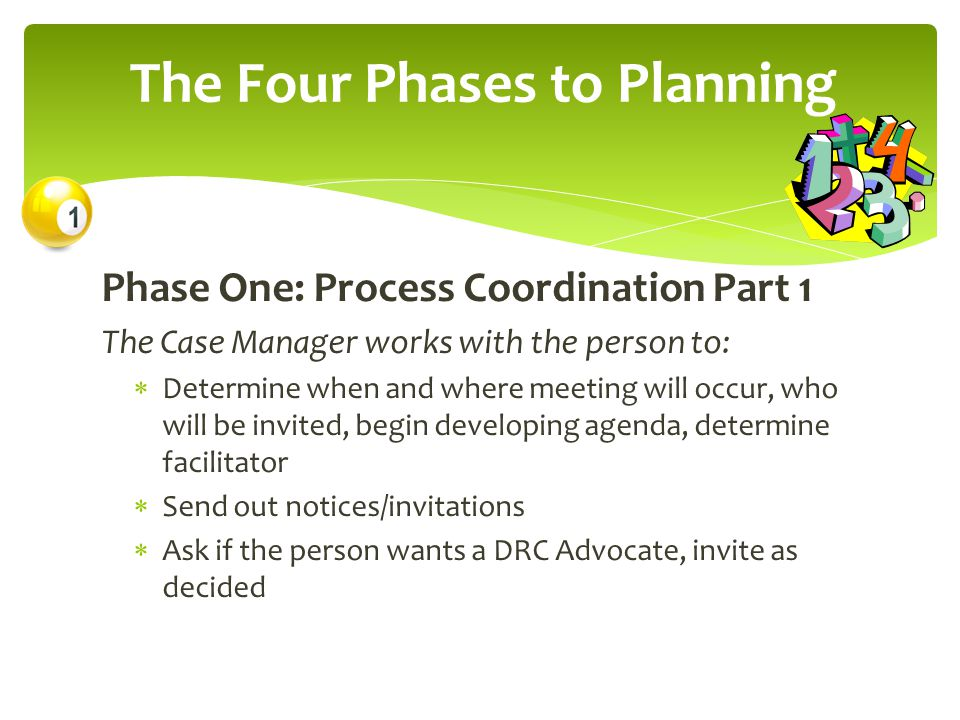 Phase One: Process Coordination Part 1 The Case Manager works with the person to:  Determine when and where meeting will occur, who will be invited, begin developing agenda, determine facilitator  Send out notices/invitations  Ask if the person wants a DRC Advocate, invite as decided The Four Phases to Planning